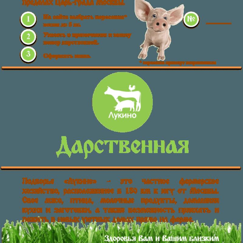 Сертификат на поросенка 1 шт.                        с фермы Лукино